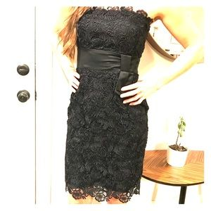 WHBM Black Lace strapless dress